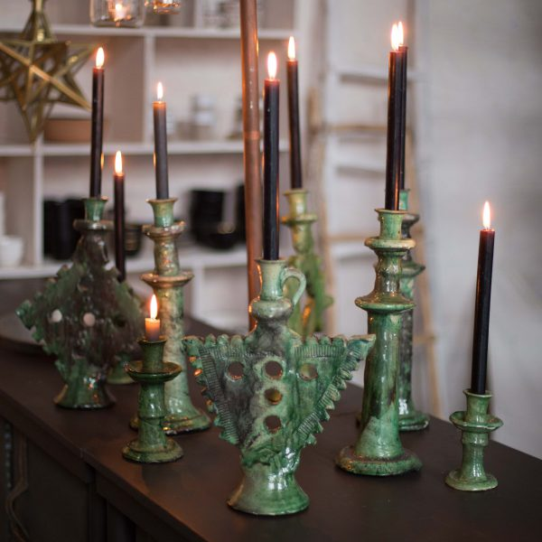 candle holder L mustard / green