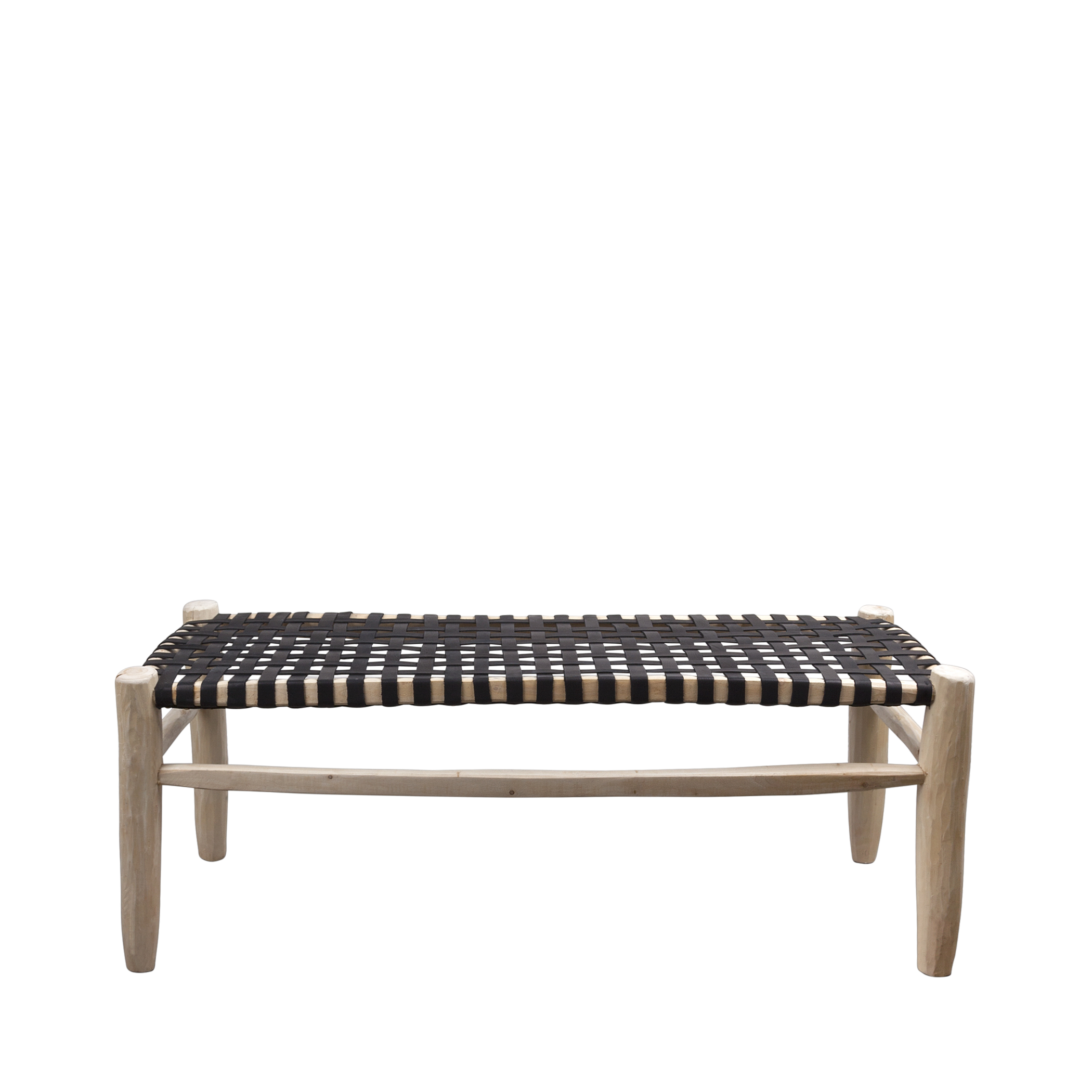 bench natural/black leather seating