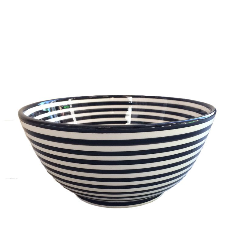 Bowl black, white stripes.