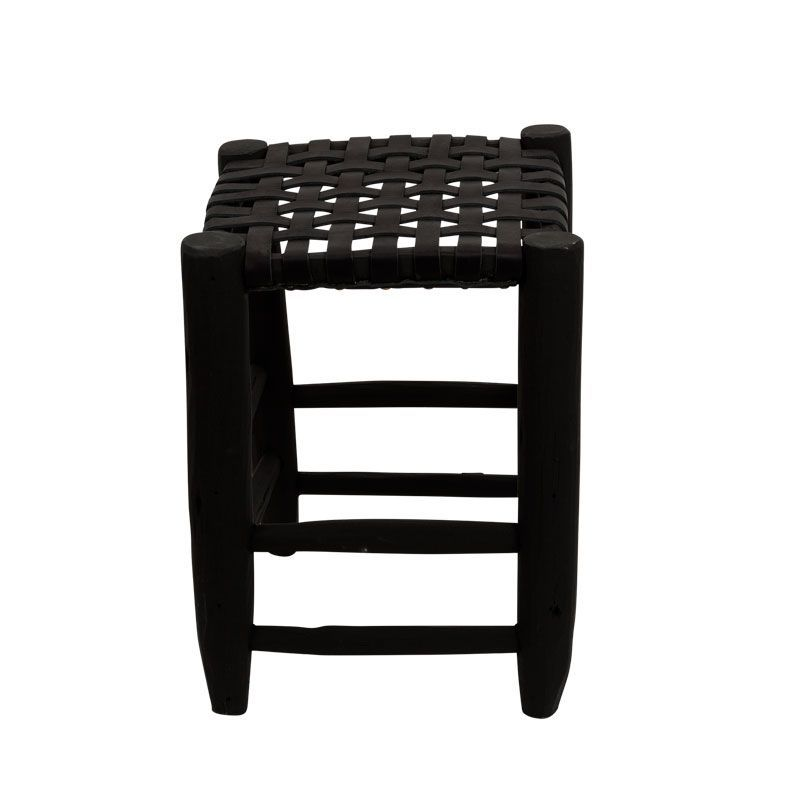 stool S black/black leather seating